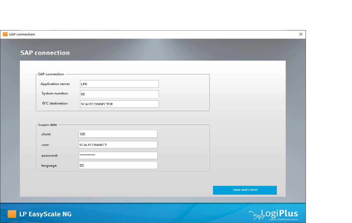 SAP Verbindung konfigurieren